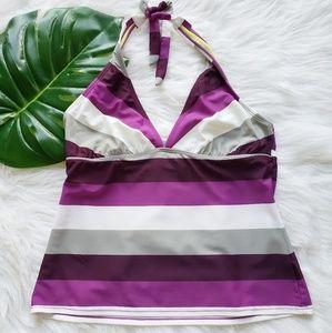 Athleta, Purple Striped Halter Tankini Swim Top, L
